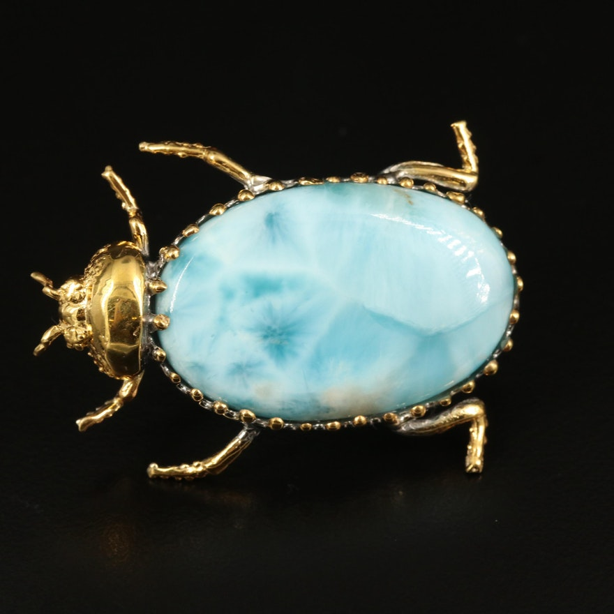 Sterling Larimar Beetle Brooch