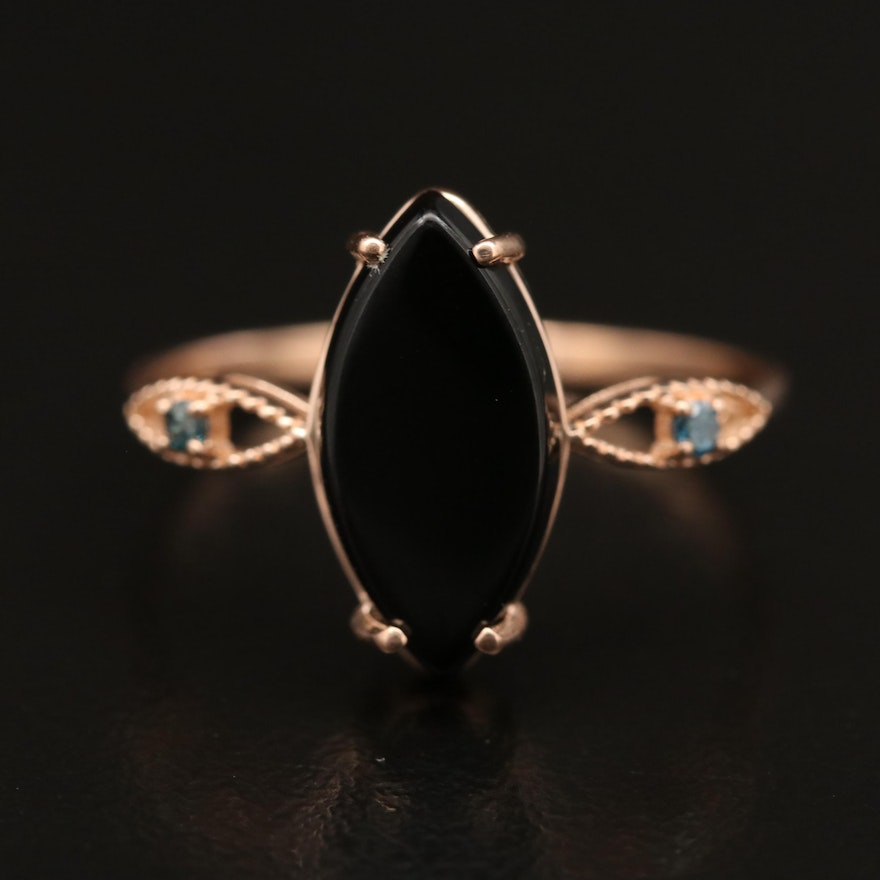 14K Black Onyx Ring with Diamond Accents