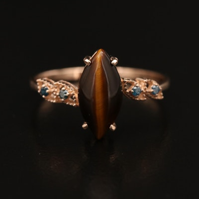 14K Tiger's Eye and Diamond Ring