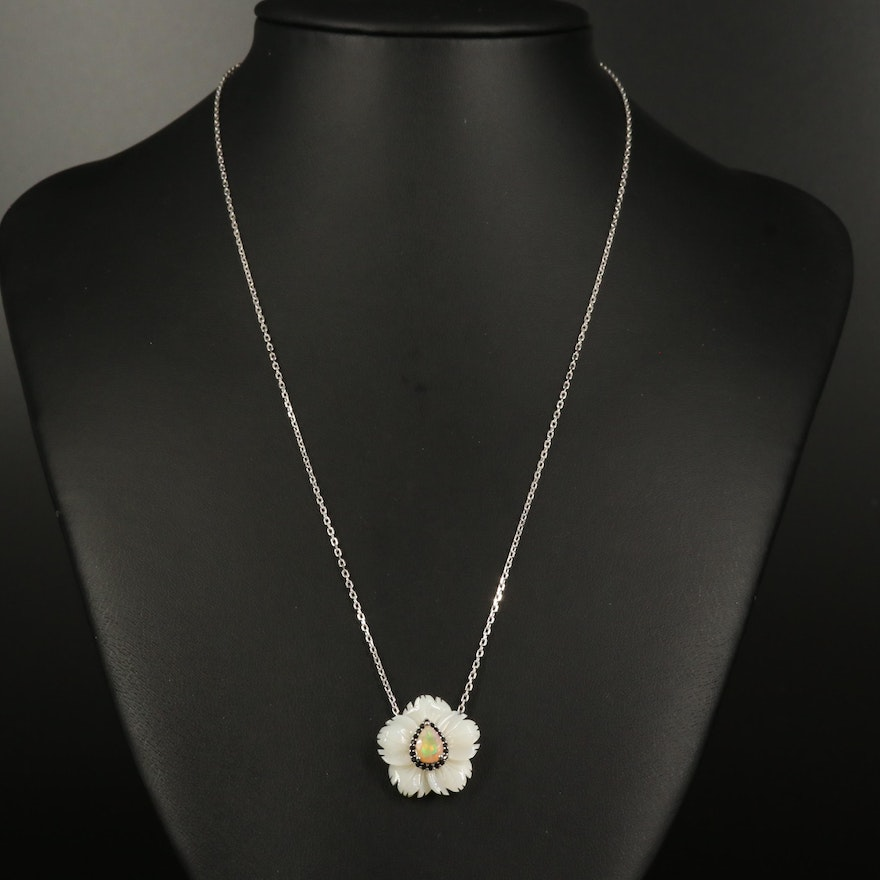 Sterling Carved Mother of Pearl, Opal and Cubic Zirconia Flower Pendant Necklace