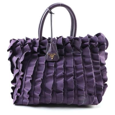 Prada Purple Ruffle Tessuto Nylon and Leather Tote