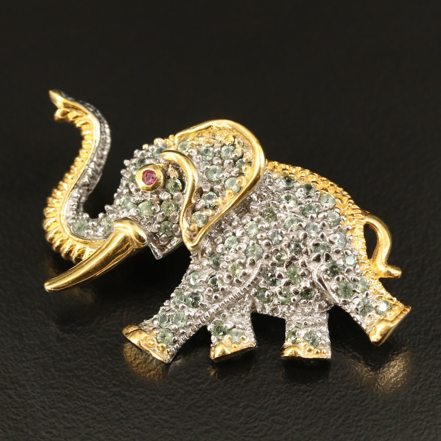 Sterling Walking Elephant Brooch with Garnet and Sapphire