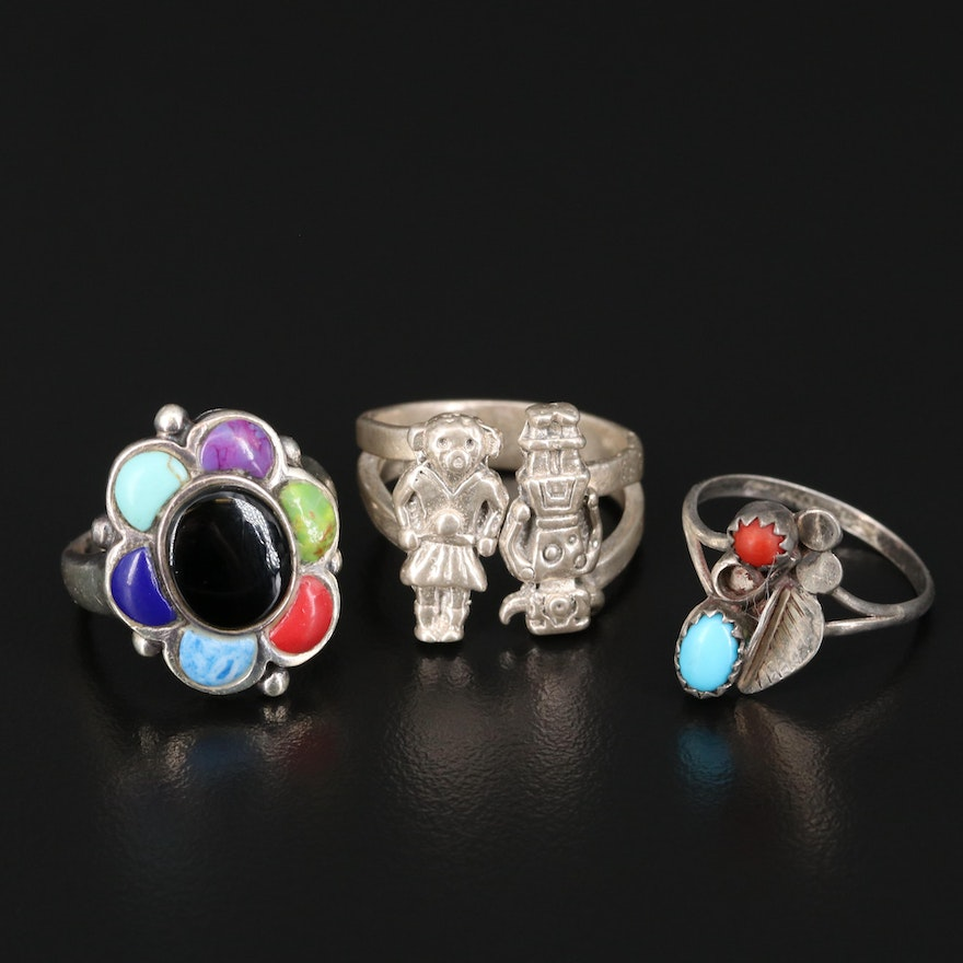 Southwestern Sterling Silver Rings with Turquoise, Black Onyx and Coral