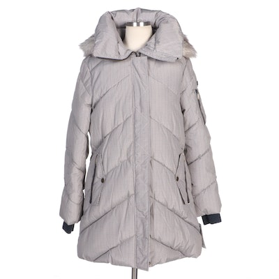 BCBGeneration Printed Houndstooth Down Puffer Coat with Faux Fur Trimmed Hood