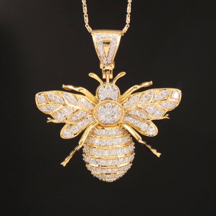 14K 1.59 CTW Diamond Bee Necklace