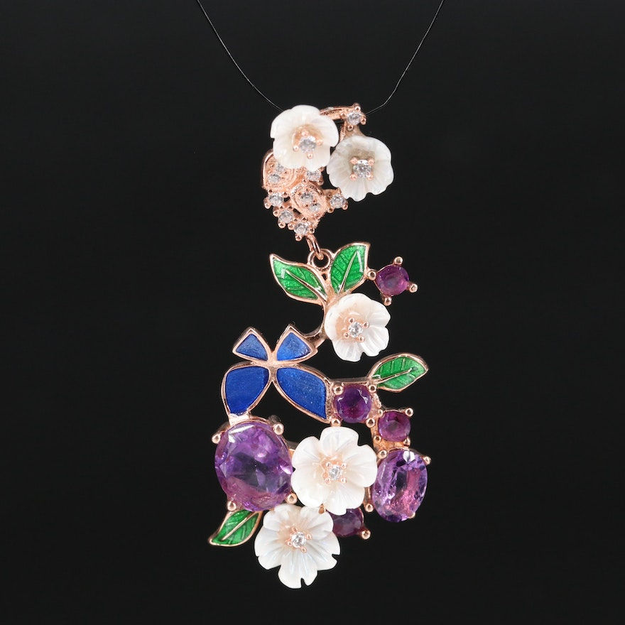 Sterling Amethyst, Cubic Zirconia and Mother of Pearl Floral Pendant