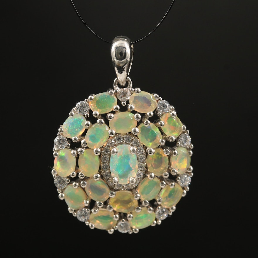 Sterling Opal and Cubic Zirconia Cluster Pendant