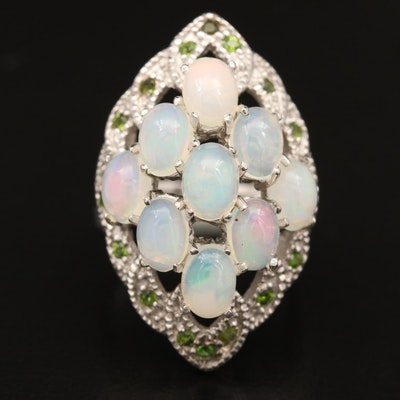 Sterling Silver Opal and Diopside Openwork Ring