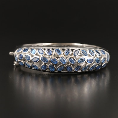 Sterling Silver Kyanite Openwork Hinged Bangle
