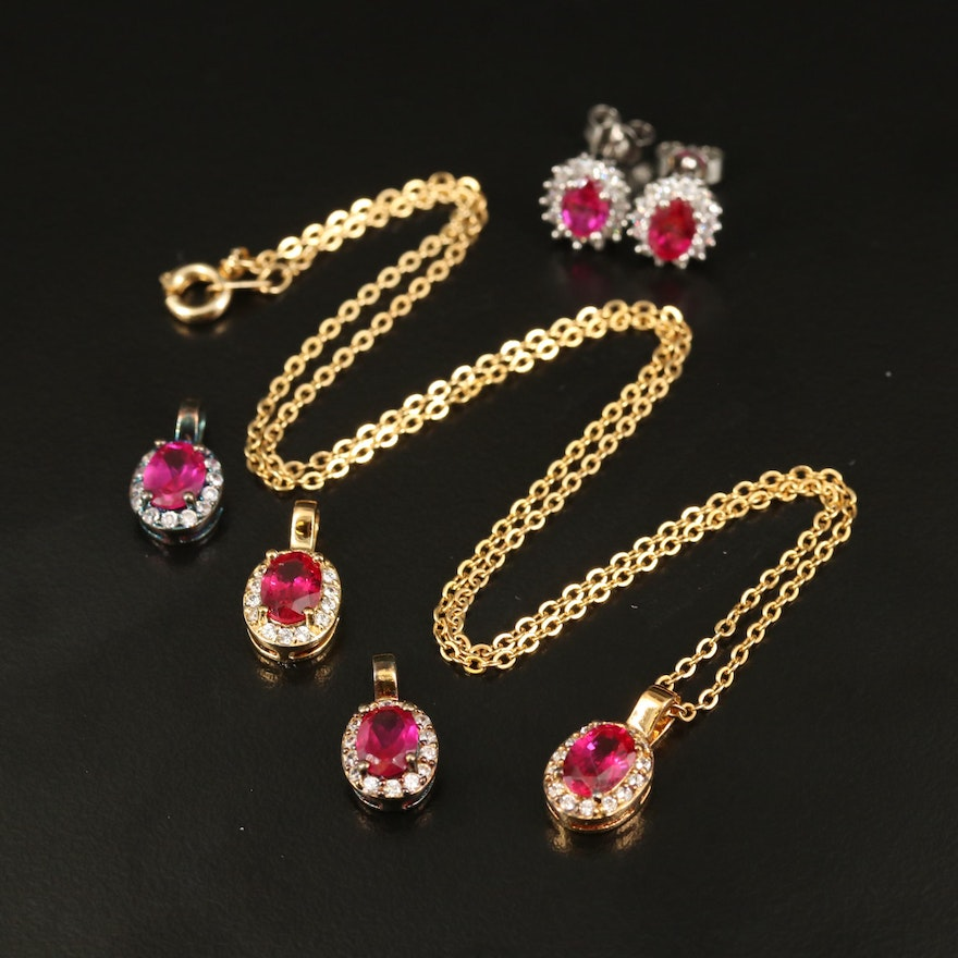Sterling Ruby and Cubic Zirconia Jewelry