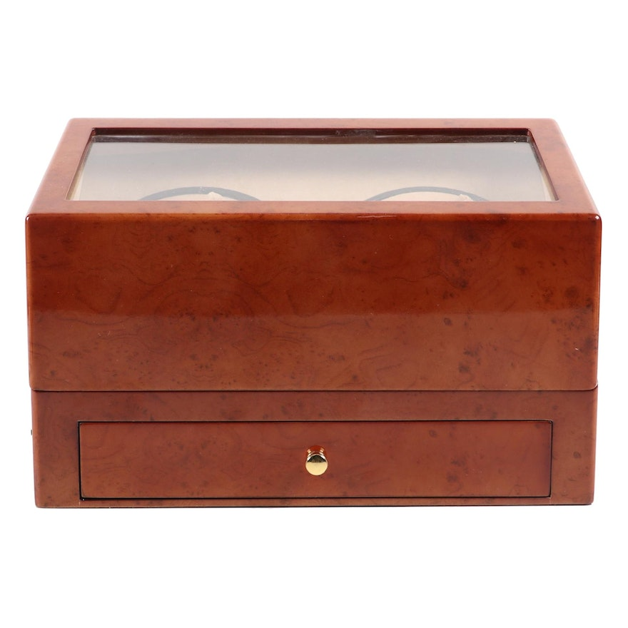 Contemporary Four-Watch Winder with High Gloss Burlwood Finish