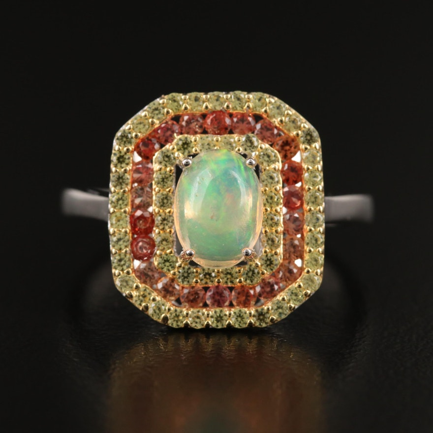 Sterling Silver Opal and Sapphire Multi-Halo Ring