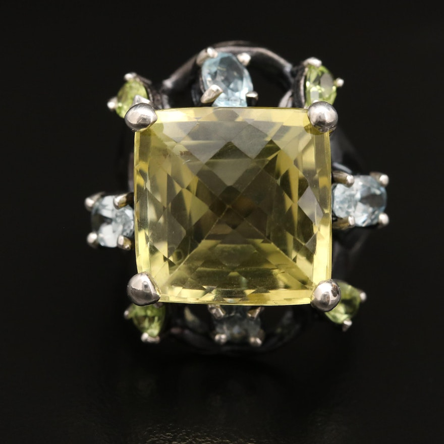 Sterling Silver Citrine, Topaz and Peridot Ring