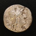 Roman Republic AR Denarius of Cassius, ca. 126 B.C.
