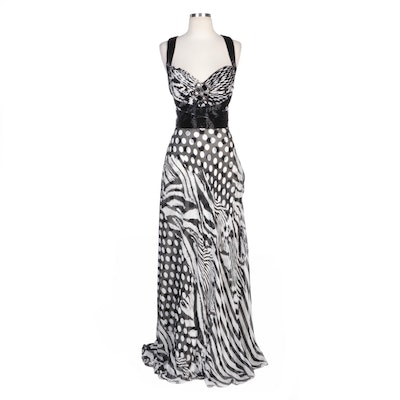 Alberto Makali Bead Embellished Zebra Striped and Polka Dot Silk Evening Dress