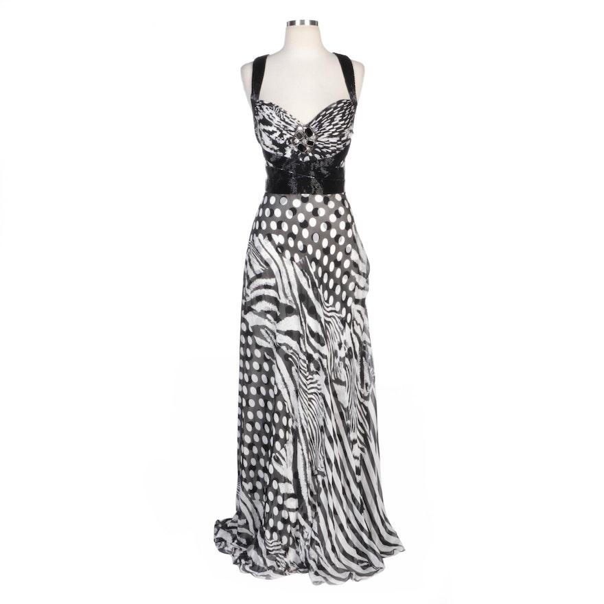 Alberto Makali Bead Embellished Zebra Striped and Polka Dot Silk Evening Dress