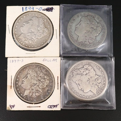 Four Morgan Silver Dollars, Including Better Dates