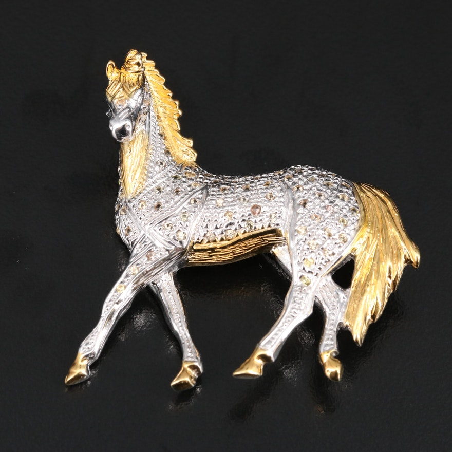 Sterling Silver Sapphire Horse Brooch