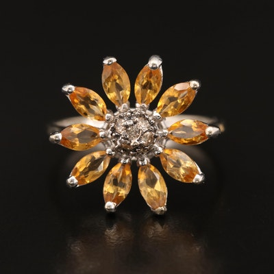 14K Diamond and Citrine Flower Ring