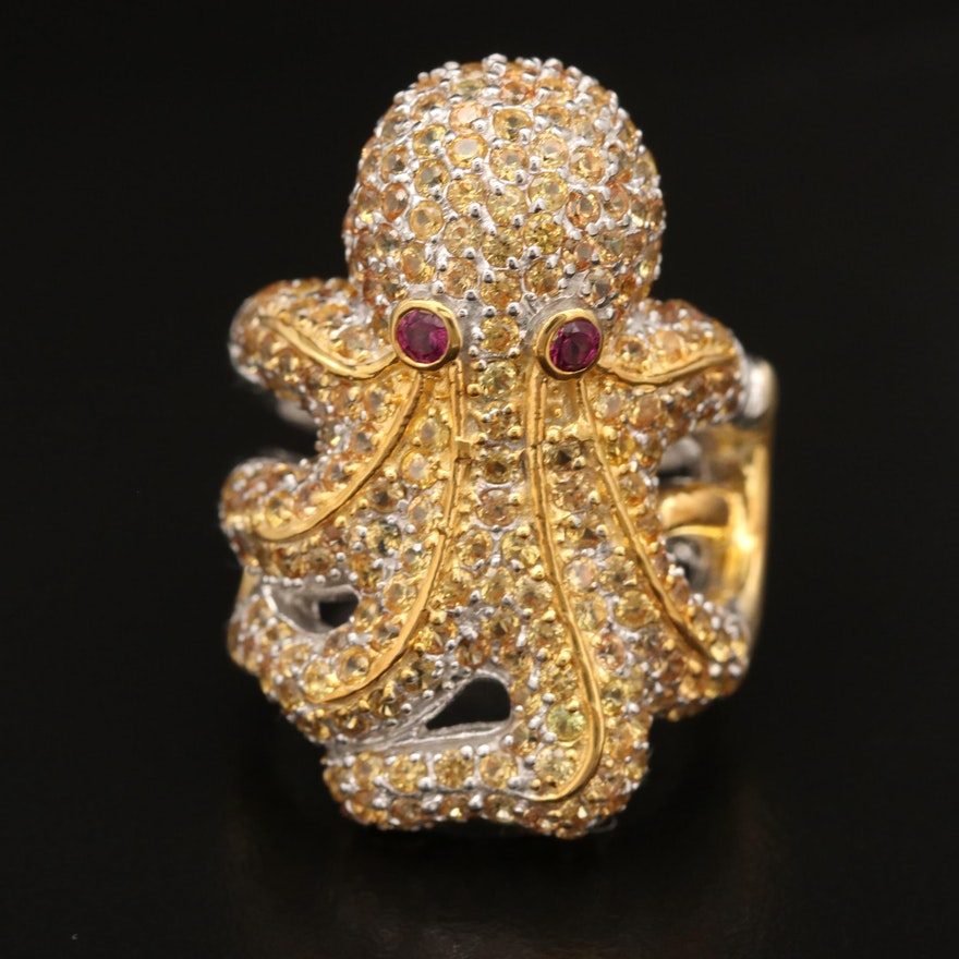 Sterling Silver Garnet and Sapphire Octopus Ring