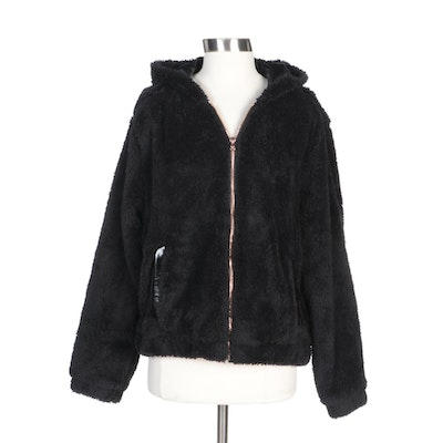 Pink Platinum Black Hooded Faux Fur Zipper-Front Jacket