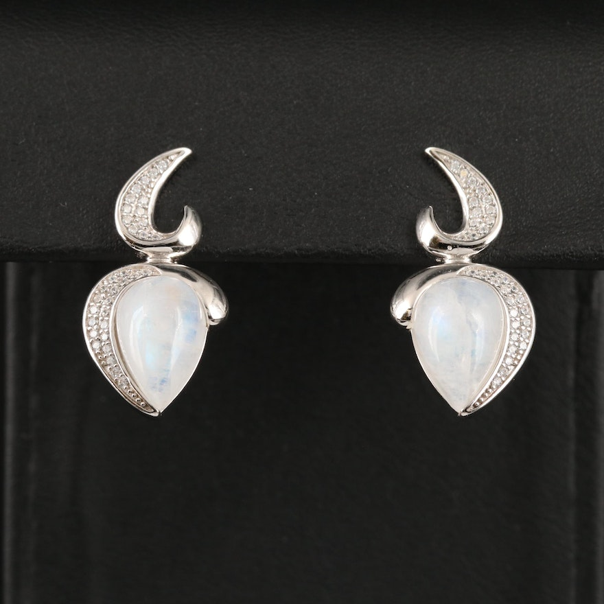 Sterling Silver Moonstone and Cubic Zirconia Drop Earrings