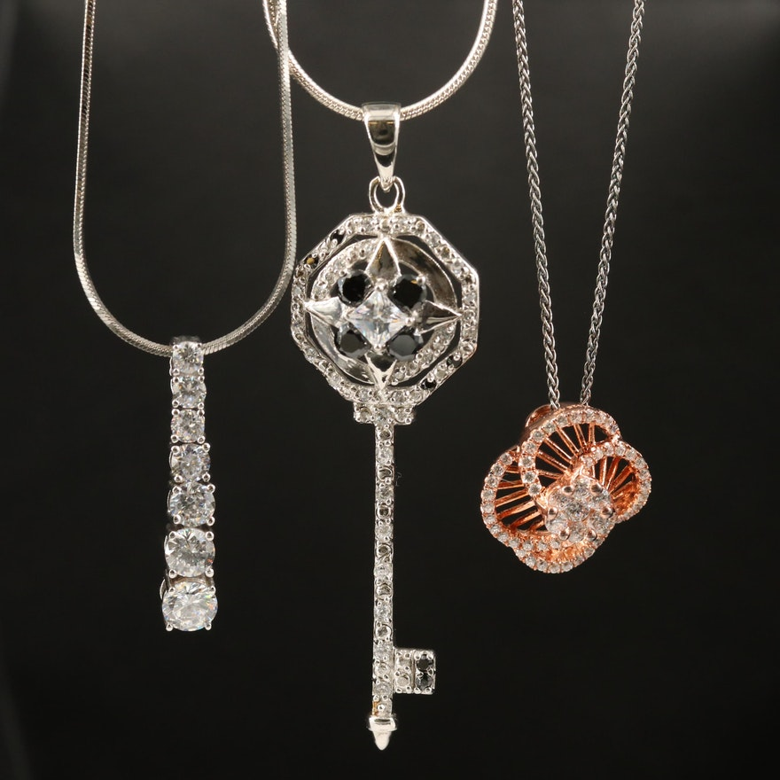 Sterling Key, Flower and Graduated Necklaces with Cubic Zirconia