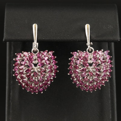 Sterling Silver Garnet Cluster Earrings