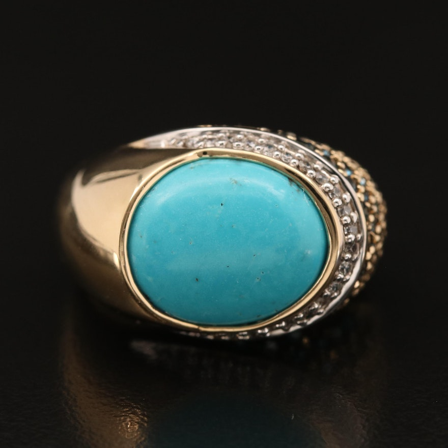 Sterling Turquoise, Cubic Zirconia and Topaz Domed Ring