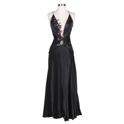 Alberto Makali Black Silk Evening Dress with Floral Sequin Embellishments