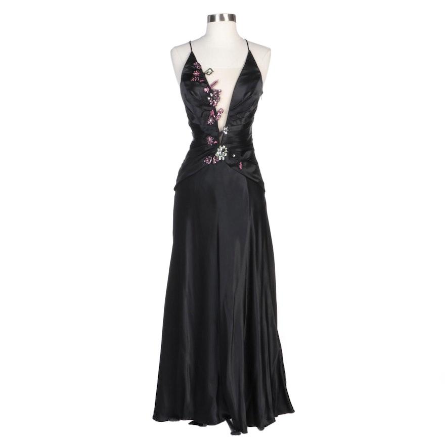 Alberto Makali Black Silk Evening Dress with Floral Sequin Embellishments