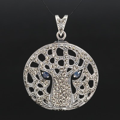Sterling Silver Sapphire and Marcasite Openwork Feline Pendant
