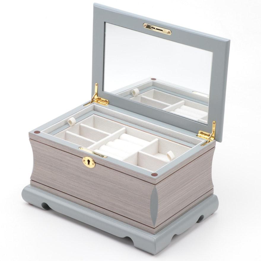 Gray Veneered Wood Jewelry Box with Key, Contemporary