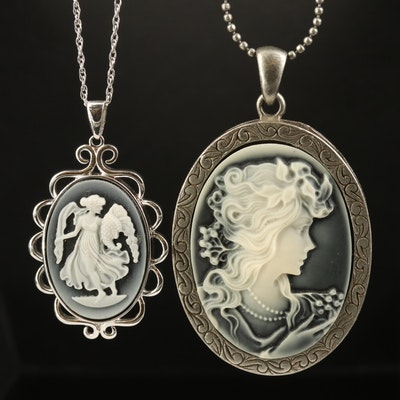 Onyx and Faux Onyx Cameo Necklaces Including Sterling Silver