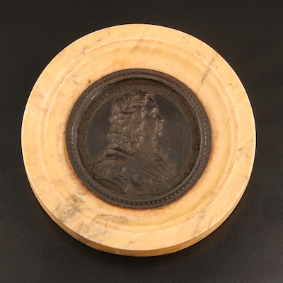 Peter The Great Bronze Medallion Inset in Marble