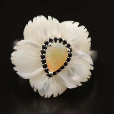 Sterling Silver Opal, Spinel and Carved Mother of Pearl Flower Ring