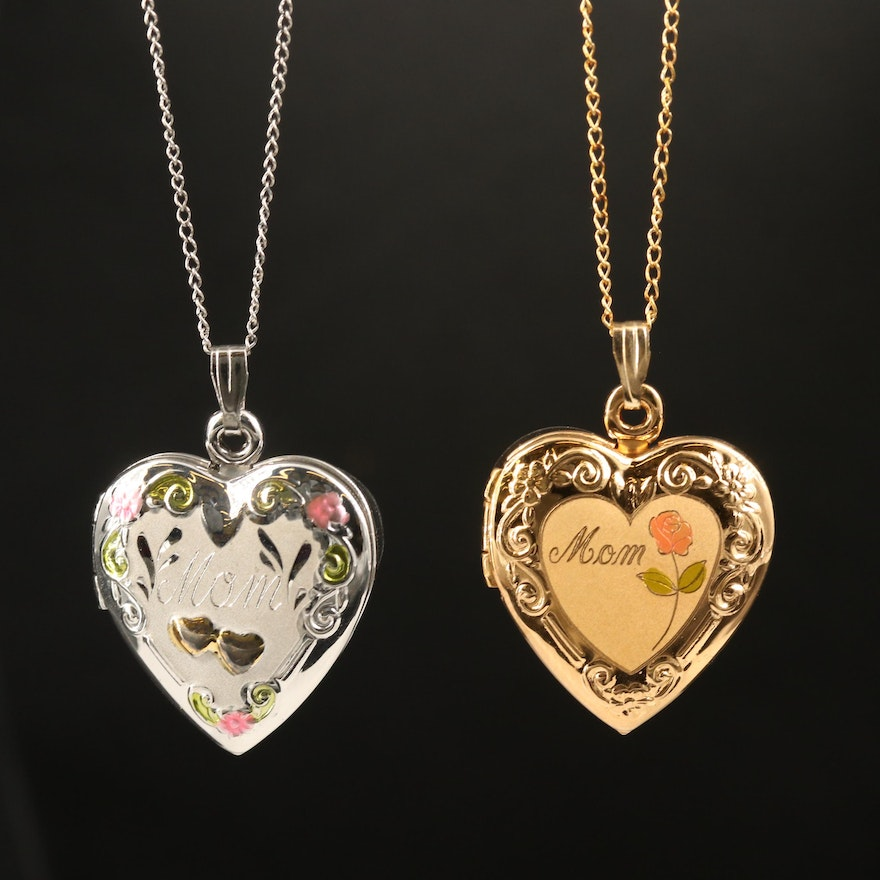 """Sterling """"Mom"""" Heart Locket Necklaces"""