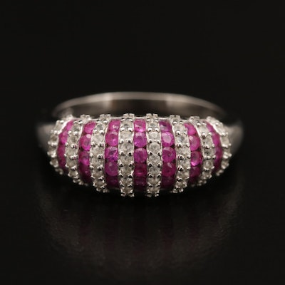 Sterling Silver Ruby and Sapphire Ring