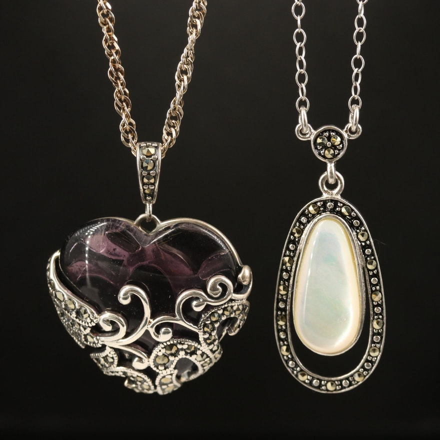 Sterling Heart and Drop Necklaces with Mother of Pearl and Marcasite