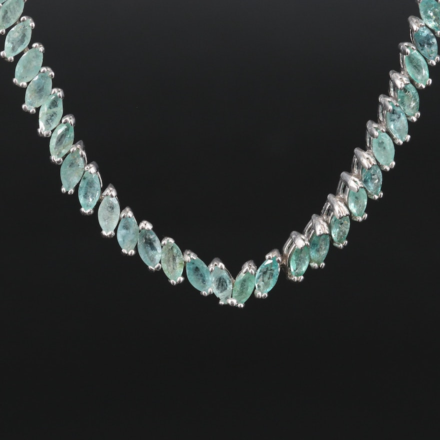 Sterling Silver Emerald Necklace