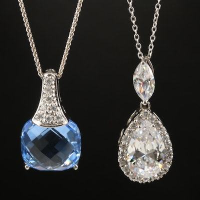 Sterling Cubic Zirconia and Spinel Necklaces