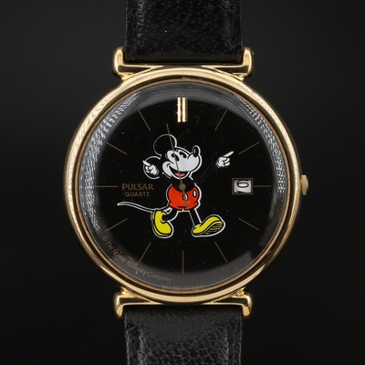 Pulsar for Walt Disney Mickey Mouse Gold Tone Wristwatch