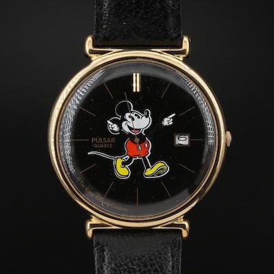 Pulsar for Walt Disney Mickey Mouse Gold Tone Wristwatch