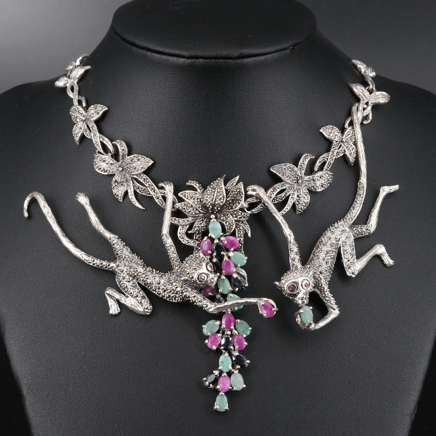 Sterling Silver Flora and Fauna Primate Necklace