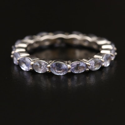 Sterling Tanzanite Eternity Band