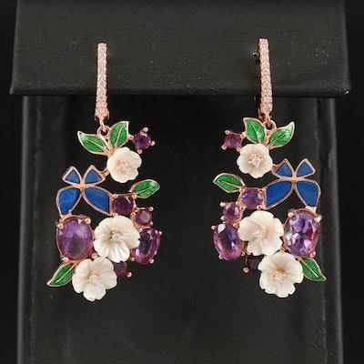 Sterling Silver Amethyst, Cubic Zirconia and Enamel Floral Earrings