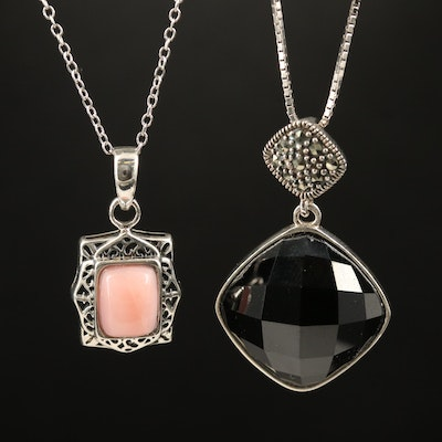 Sterling Spinel, Marcasite and Common Opal Pendant Necklaces