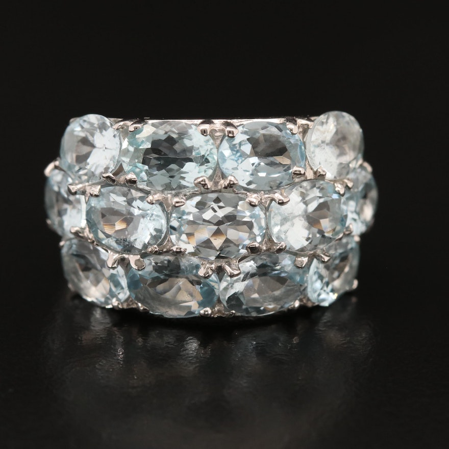Sterling Aquamarine Domed Band