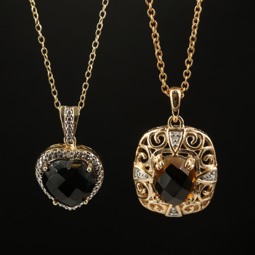 Sterling Heart and Openwork Necklaces with Citrine, Black Onyx and Diamonds