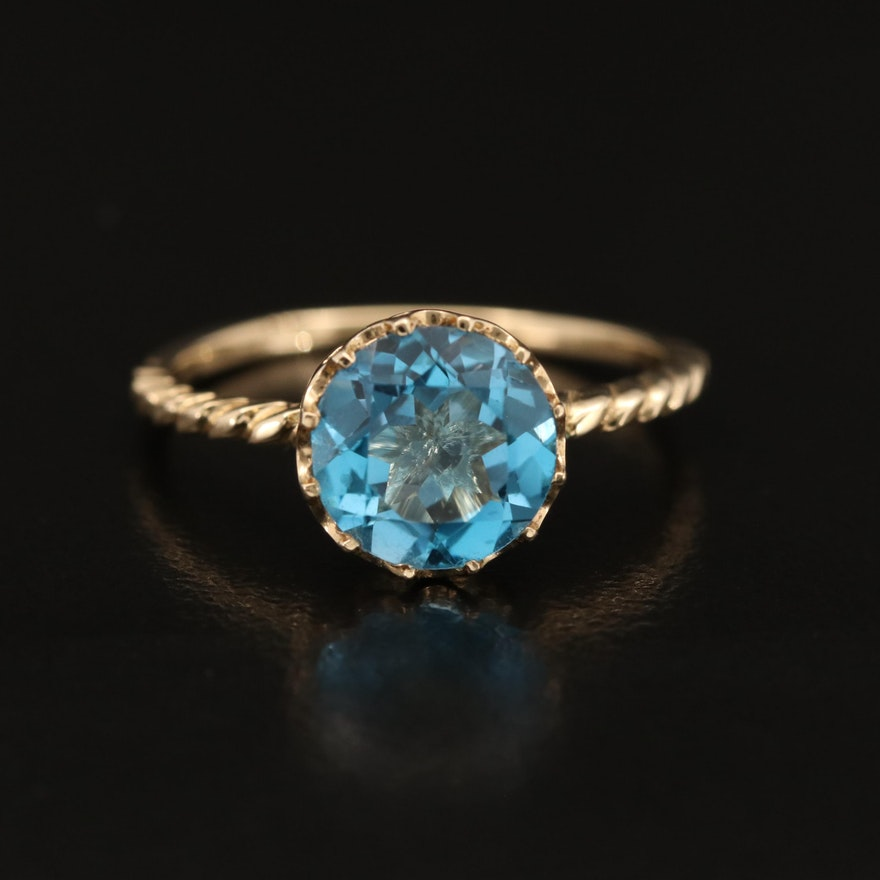 14K Round Faceted Topaz Solitaire Ring